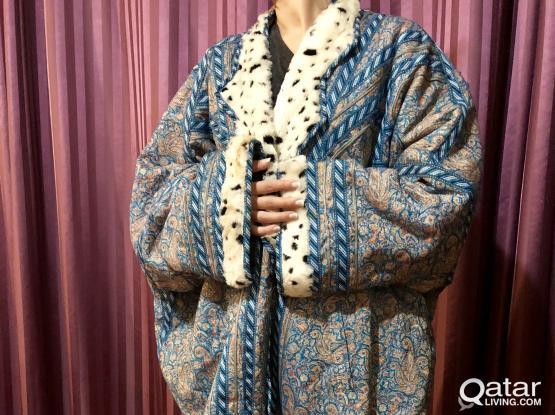 Embroidered farwa cloak / coat in fur & wool