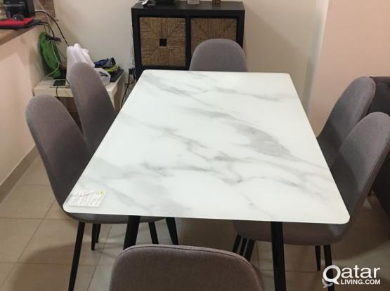 BRAND NEW DINNING TABLE + 6CHAIRS -3 MONTHS USED-GREAT SHAPE