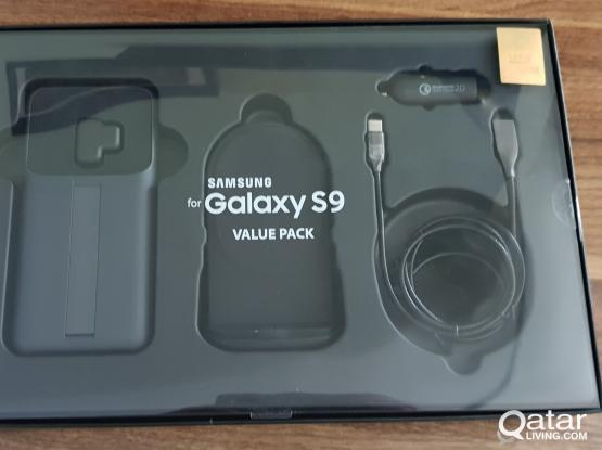 Samsung S9 wireless,cable charger car and cover .