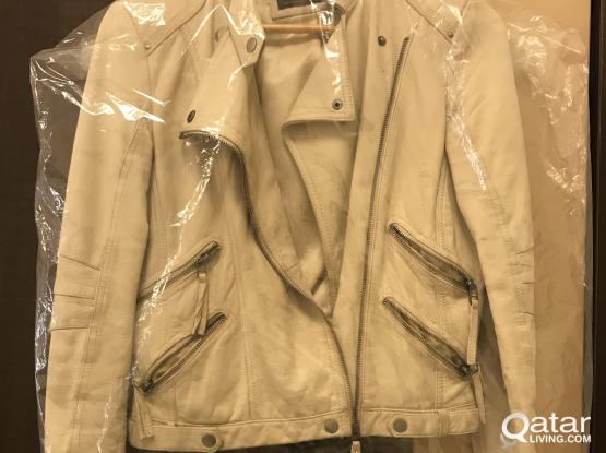 Zara Leather Jacket-Beige/S Size