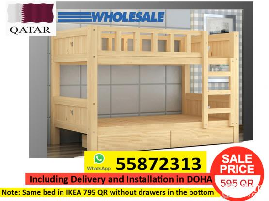 WOOD BUNK BED FOR 595 QAR