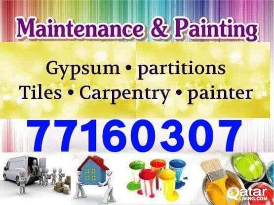 maintenance services.Painting,Gyupsum,Electric,Wood Furniture.call.77160307