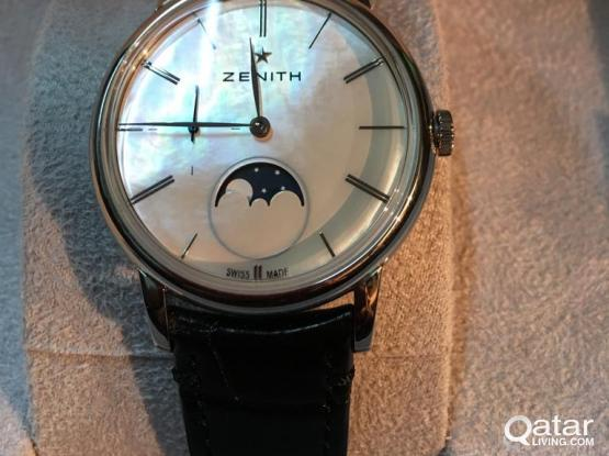 ZENITH ELITE LADY MOONPHASE MOTHER OF PEARL DIAL & BLACK LEATHER STRAP 36MM