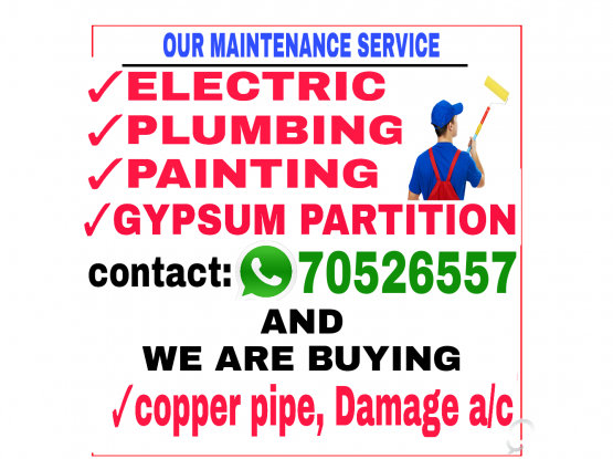 ELECTRIC PLUMBING PAINTING SERVICE.CALL 70526557.
