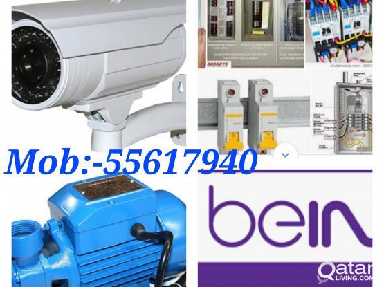 *Electrical*Plumbing*Cctv HD Camera,DVR & satellite installation,HD-4k Reciver work in Qatar.