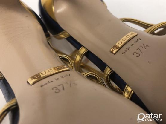Gucci 'Bette' Multicolored Feline Peep Toe Pumps
