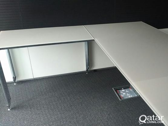 L Shaped Office Glass Table