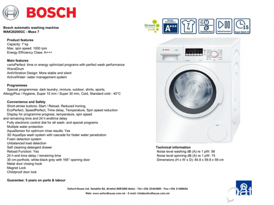 Bosch Washer WAK20200GC 7Kg for sale at reasonable price (motor warranty till 2020)