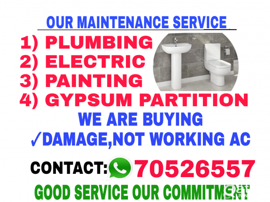 ELECTRIC PLUMBING PAINTING GYPSUM PARTITION SERVICE.CALL 70526557.