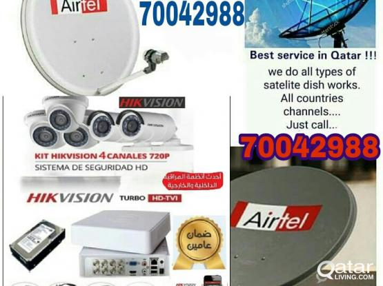 I do any satellite dish tv & CCTV camera work & CCTV camera DVR & Dish, receiver sell. your need installation, just call & what's app me 70042988