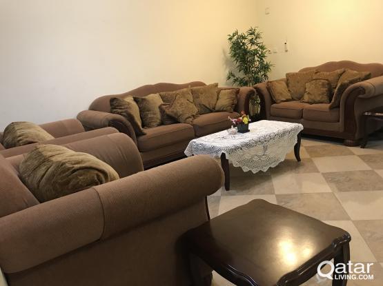 Sofa set. 2 arm chairs, 1 big sofa and one smaller sofa.