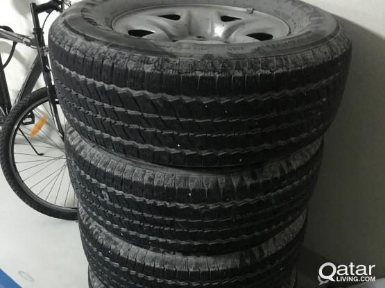 4 TIRES & STEEL RIMS LAND CRUISER