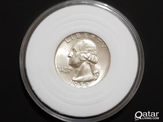 """Silver Coin(Uncirculated) 1959- ¼ Dollar """"Washington Silver Quarter"""""""