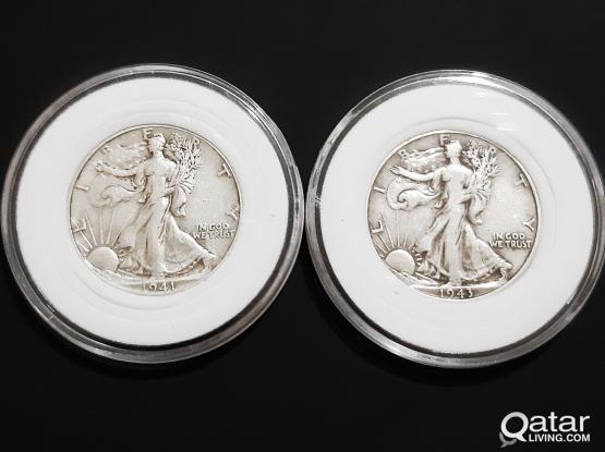 "Silver Coins 1941  1943 Half Dollar ""Walking Liberty""-(.900 Silver)"