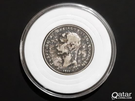 Silver coins- 1911- 2 Drachmai- George I 3rd portrait- Original Tone