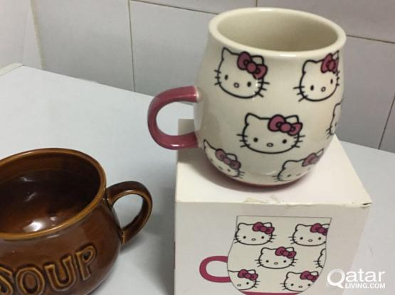 Hellow kitty mug and soup bowl