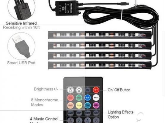 Car Interior 4 LED Light Strips + IR Remote control