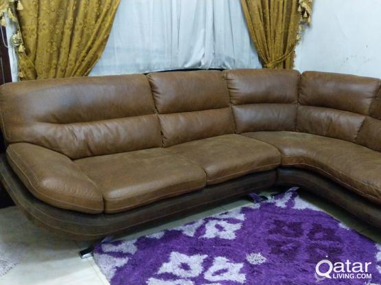 L SHAPE LEATHER SOFA and DINING TABLE/5 CHAIR FOR URGENT SALE