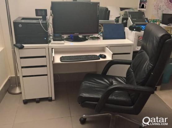 White Ikea Desk and Drawer - selling without (or with) office chair