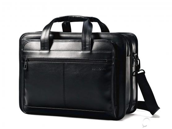 Samsonite Leather Expandable Office/Laptop Bag - Black (Brand New)