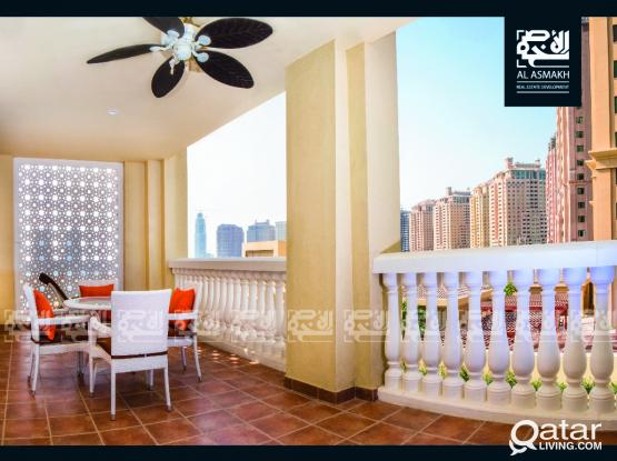 Lux. Furnished 1 BDR + Office in the Pearl (RP2)