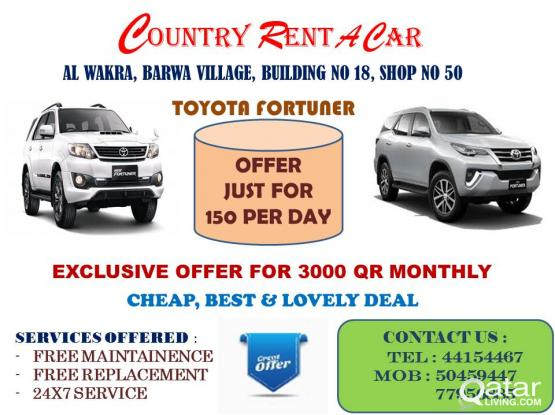 Toyota Fortuner  having an exclusive offer to our customer just for 150 QR per day on minimum 10 day basis and 3000 QR monthly