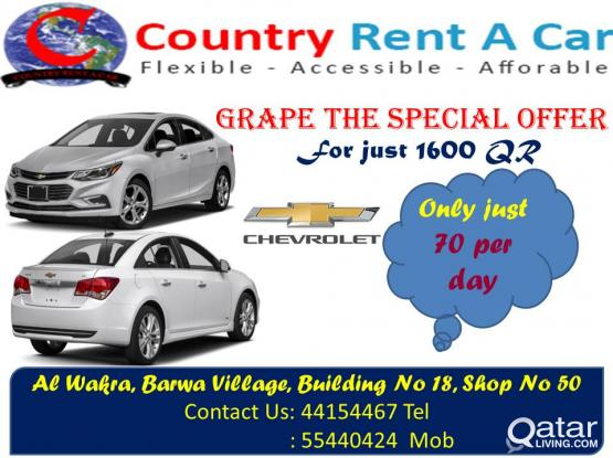 weekend offer avilable for just 70 QR per day for minimum 7 day basis on the Chevrolet Cruse 2017 model
