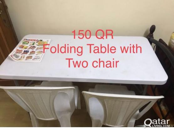 Folding Table with two chair