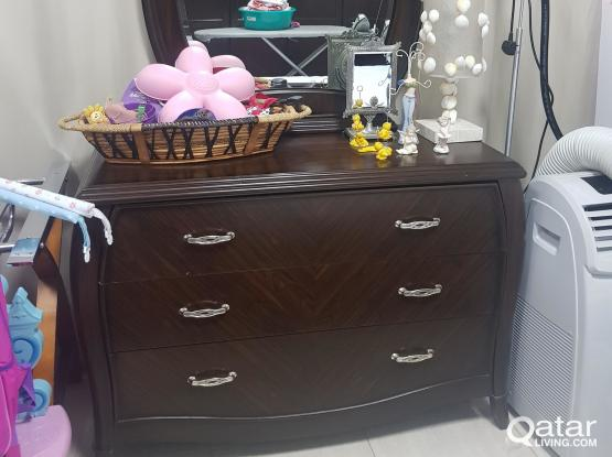 For sale(Bed and mattress +hair dresser+side drawers)