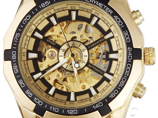 Fanmis Best Selling Golden Stainless Steel Russian Skeleton Luxury Men's Automatic Mechanical Wrist