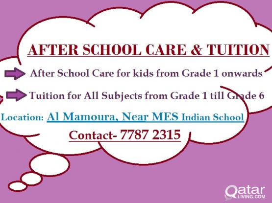 After School Care and Tuition Classes from Grade 1 till Grade 6