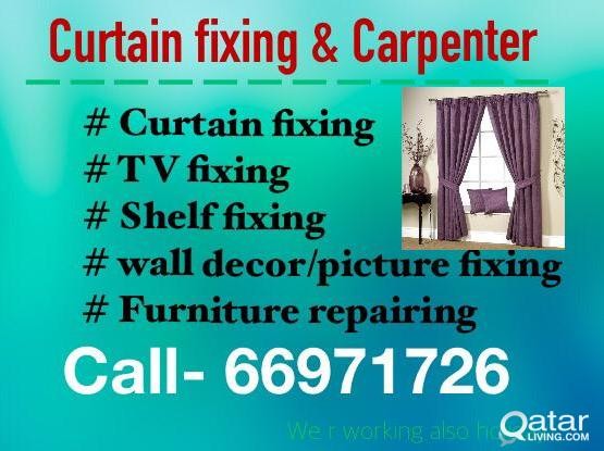 Curtain fixing ,, TV ,, wall decor , picture fixing & furniture re-pairing = 66971726