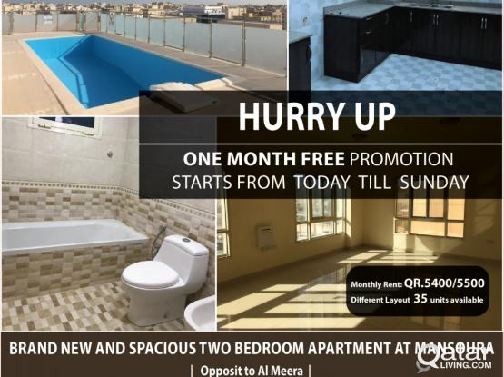 Brand New and Spacious 2 Bedroom Apartment available at Mansoura (One Month free)