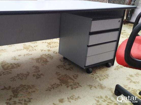 Office Table Grey Colour Medium Size with HighBack Chair Red Colour