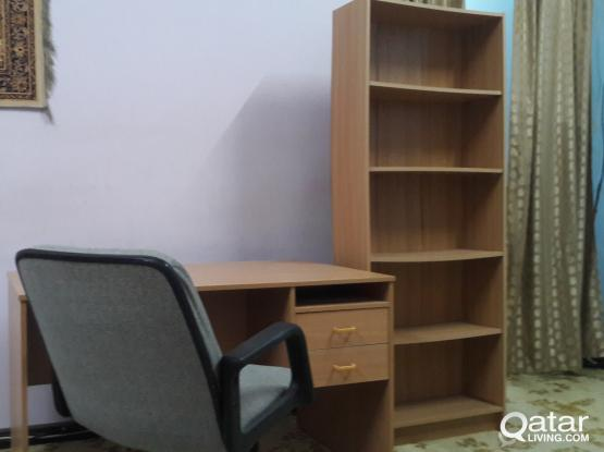 Office Table Small Size Teak Colour, Book Shelf Teak Colour, Office Chair Low back - Grey Colour