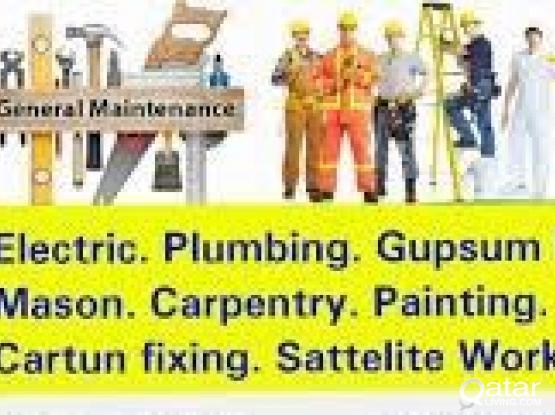 PLUMBING +974 66887822 ELECTRICAL GYPSUM BOT ALL MAINTENANCE