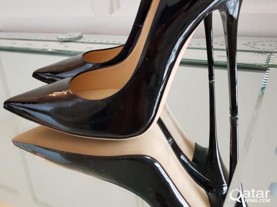 Jimmy Choo Anouk Black Patent Leather  Heels Size 36