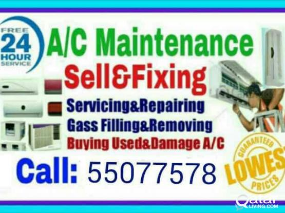 A/C service and maintenance. Selling and Fixing, Servicing, Repairing, Gass Filling, Cleaning & Removing. ★ We Buye Used and Damage A/C. ★We Are Doing Work Whole Qatar. (Service 24 Hours). ★We Have Up To 5 Years Experience in A/C Section.(call :-55077578)