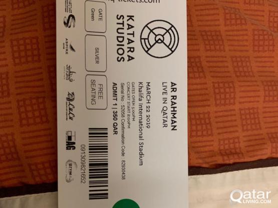 Ar Rahman show 1ticket available