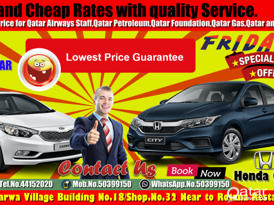 Friday Offer offer offer  !!! More Discount !!!Sedan & SuVAvailable For Rent!!Call Now :- 50399150/44152020