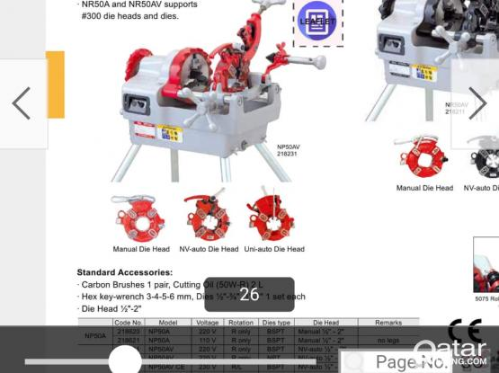 Pipe threading machine only one year old and work maximum 45 hours.