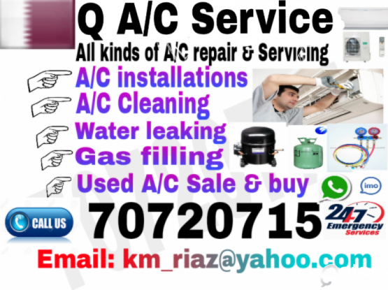 A/C maintenance, A/C installations, Gas filling, Water leaking,  Used A/C sale & Buy