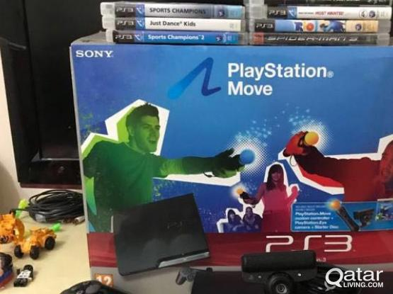 Playstation 3 with MOVE and 10 Games CD for Sale