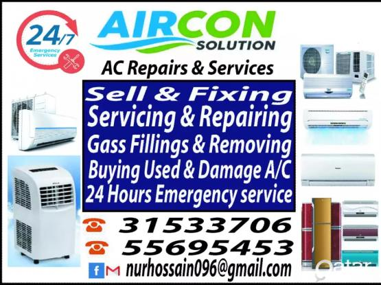 AC sale fixing and  repair, maintenance,gas filling. BUY AND SELL USED AC Please call or whatsapp 33965795