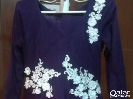 Purple Net Frock for Mother and Daughter : Customized Made