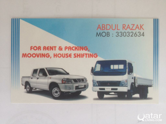 Pick up for Rent,Packing,Moving,House shifting