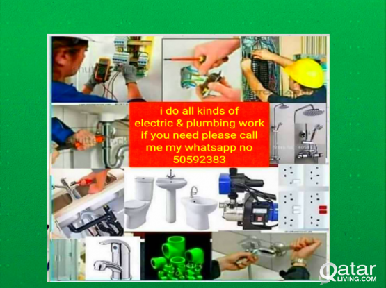 I do all electric @plumbing work if you need please call me my whatapp  number 70367228