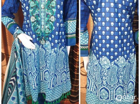 stitched pakistani embroiderd lawn dresses