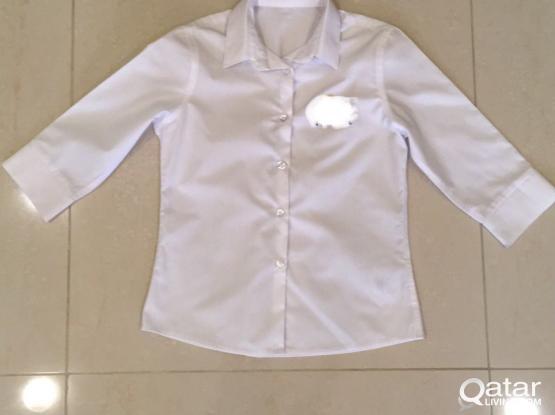 Girls White 3/4 Sleeve Shirt (x2) 9-10 yrs - NEW!!