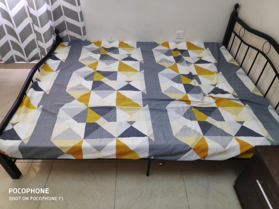Queen size bed frame with medical mattress